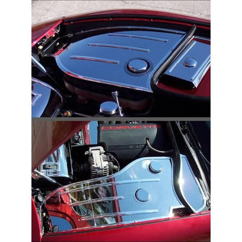 Corvette Inner Fender Covers with Cap Covers 4 Pc. (Set) - Polished Stainless Steel : 1997-2004 C5 & Z06,Engine