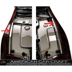 Corvette Inner Fender Liners with Top Caps 4 Pc. (Set) - Polished Stainless Steel : 1997-2004 C5 & Z06