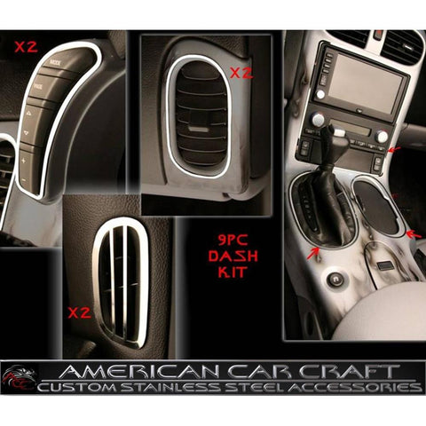 Corvette Interior Dash Kit 9 Pc. - Stainless Steel : 2005-2013 C6,Z06,ZR1,Grand Sport