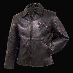 Corvette Jacket - Women's Leather Lambskin Jacket with C6 Logo