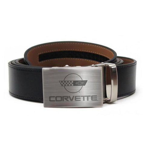 Corvette Leather Belt with Brushed Nickel Buckle : C4 Logo,Apparel