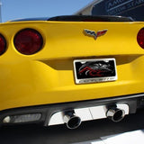 Corvette License Plate Frame - Chrome w/Stainless Steel Overlay & Carbon Fiber Script : 2005-2013 C6, Z06, Grand,Sport, ZR1