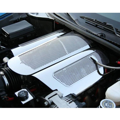 Corvette Plenum Cover Low Profile - Perforated Stainless Steel : 2006-2013 C6 Z06