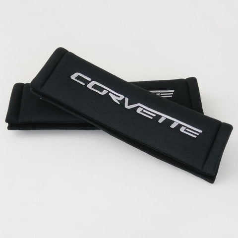 Corvette Seatbelt Harness Pads - Black with Silver Corvette (05-12 C6/Z06/ZR1/Grand Sport)