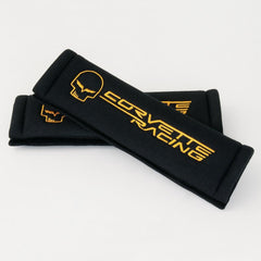 Corvette Seatbelt Harness Pads - Black with Yellow Jake Logo Racing Script (05-13 C6/Z06/ZR1/Grand Sport)