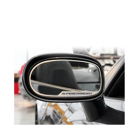 "Corvette Sideview Mirror Trim ""SUPERCHARGED"" - Brushed Stainless Steel 2 pc. : 2005-2013 C6, Z06, ZR1 & Grand Sport,Exterior"
