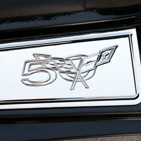 (97-04 C5) : Corvette Sill Plates - Billet Aluminum Chrome with 50th Logo
