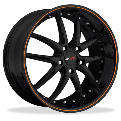 Corvette SR1 Performance Wheels - APEX Series : Gloss Black w/Orange Stripe