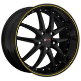 Corvette SR1 Performance Wheels - APEX Series : Gloss Black w/Yellow Stripe,Wheels & Tires