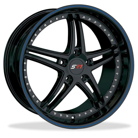 Corvette SR1 Performance Wheels - BULLET Series : Gloss Black w/Blue Stripe