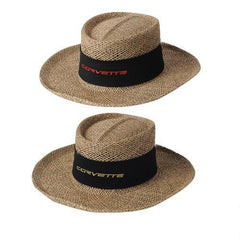 Corvette Straw Hat with Script Emblem: 2005-2013 C6