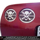 Corvette Taillight Grilles Skull Style 4 Pc. Set - Polished Stainless Steel : 1997-2004 C5 & Z06,Exterior