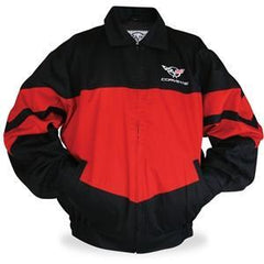 Corvette Twill Jacket w/ C5 Emblem - Red/Black : 1997-2004 C5