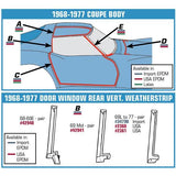 Corvette Weatherstrip Door Window Rear Vertical WS - Coupe - Pair (1969 Mid Production),0