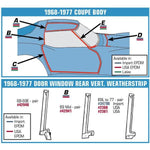 Corvette Weatherstrip Pillar Post - Upper - Pair (1973-1982),0