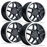 Corvette Wheels - 2001 Z06 Style Split Spoke Reproduction (Set) : Black Center with Machined Lip