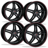Corvette Wheels - SR1 Performance Wheels / BULLET Series (Set) - Gloss Black with Red Pinstripe : 18x8.5/19x10 1997-2012 C5,C6,Wheels & Tires