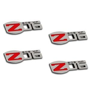 Corvette Z06 505HP Badges - Polished - Stainless Steel - 4 Pc. : 2006 -2013 C6 Z06,Exterior
