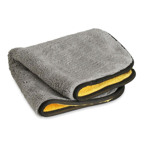 Extra Thick Plush Microfiber Drying Towel : Gray/Yellow