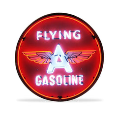 Flying A Gasoline Neon Sign in a Metal Can : 36in