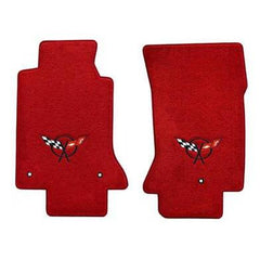 Lloyds Corvette Floor Mats Velourtex - Torch Red w/ Black C5 Emblem (97-04 C5 / C5 Z06)