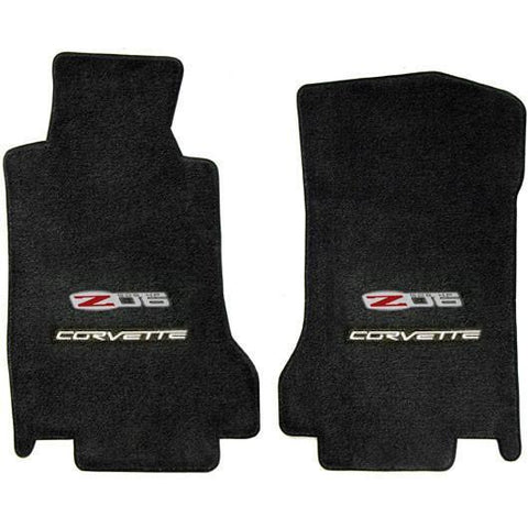 Lloyds Ultimat Floor Mats - Ebony with Z06 505HP Emblem with Silver Corvette Script (07.5 - 13 C6 Z06)