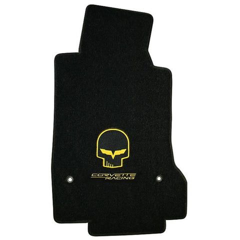 Lloyds Ultimat Floor Mats - Jake Corvette Racing w/ Script - Yellow or Silver: 2007.5-2013 (Hook Anchor),Interior