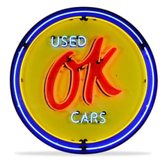 OK Used Cars Neon Sign in a Metal Can : 36in