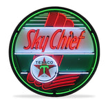 Texaco Sky Chief Neon Sign in a Metal Can : 36in,0