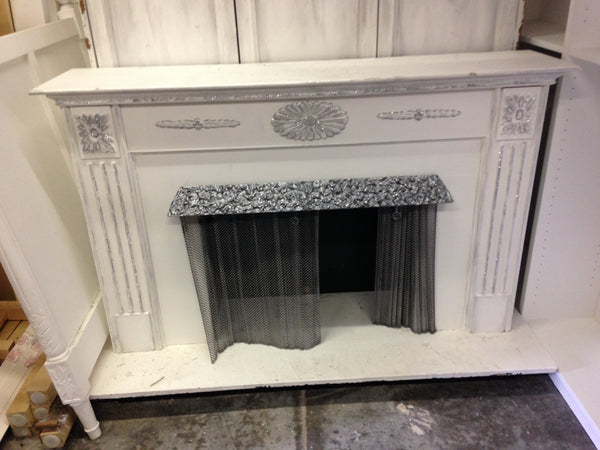 Fireplace in White with Silver trim
