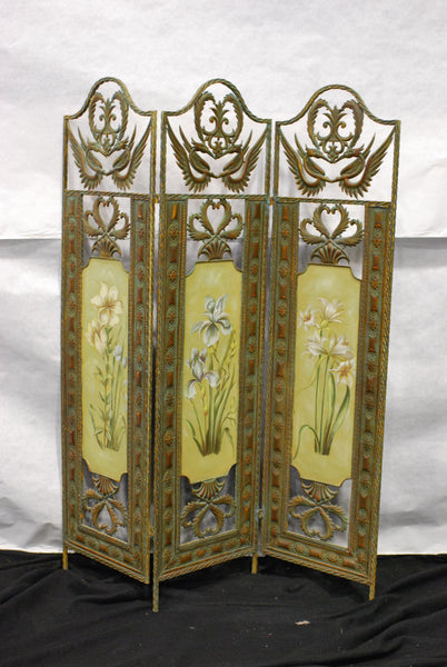 Flowered 3 Panel Screen