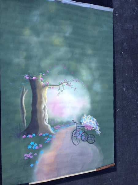 Backdrop of tree and Bicycle 6ft x 9ft