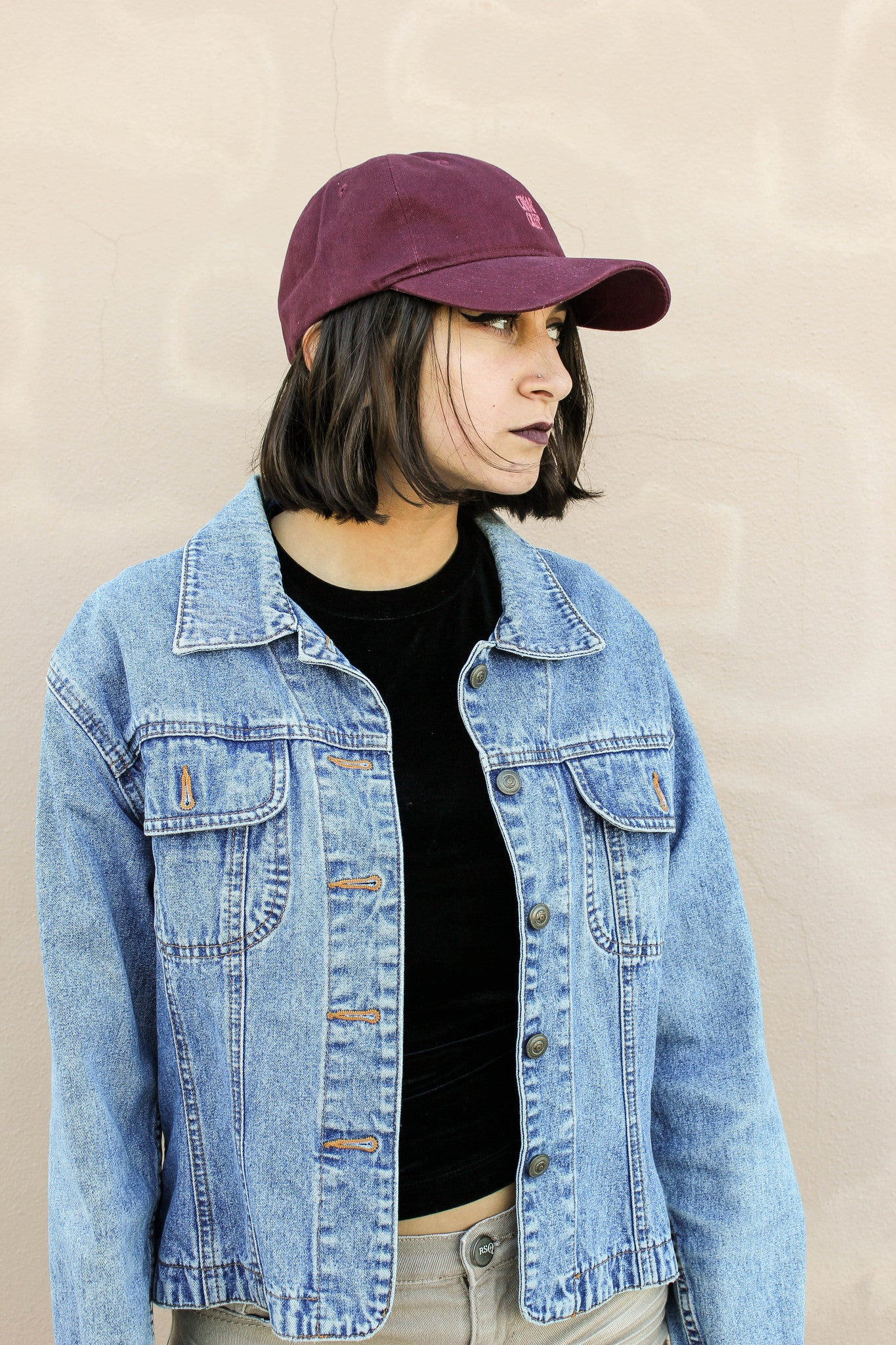 Burgundy Dad Cap with Original Logo