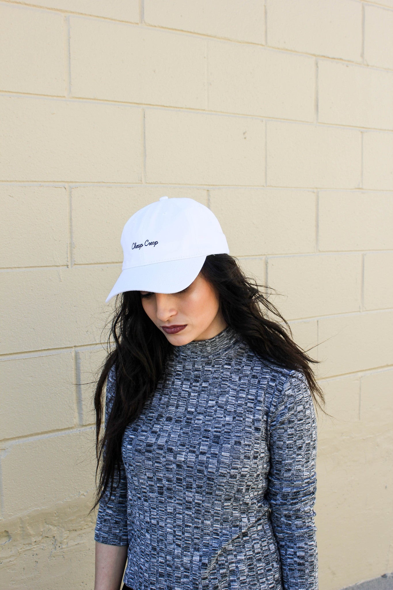 White Dad Cap with Script Logo