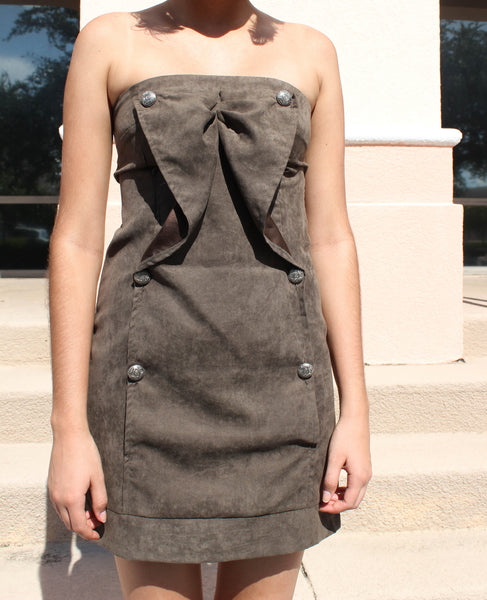 Strapless Olive Green Dress