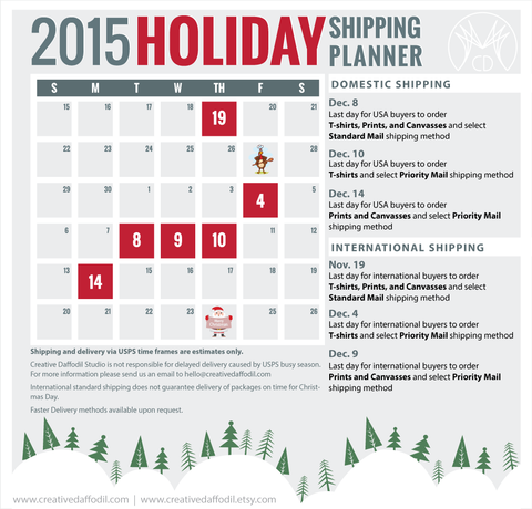 2015 Holiday Shipping Deadlinnes | Creative Daffodil Studio