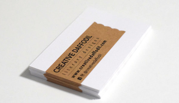 DIY Business Cards with Brown Kraft Thank You Labels on White Uncoated Cardstock