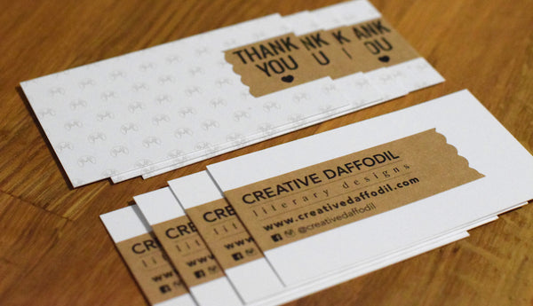 DIY Business Cards Brow Kraft Labels on White Uncoated Card Stock on wooden background