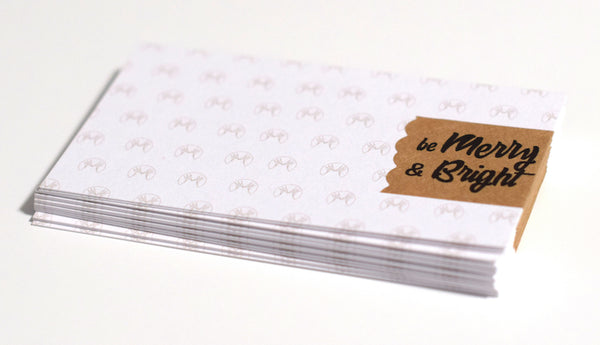 DIY Business Cards with Merry & Bright Christmas Brown Kraft Labels on White Uncoated Cardstock