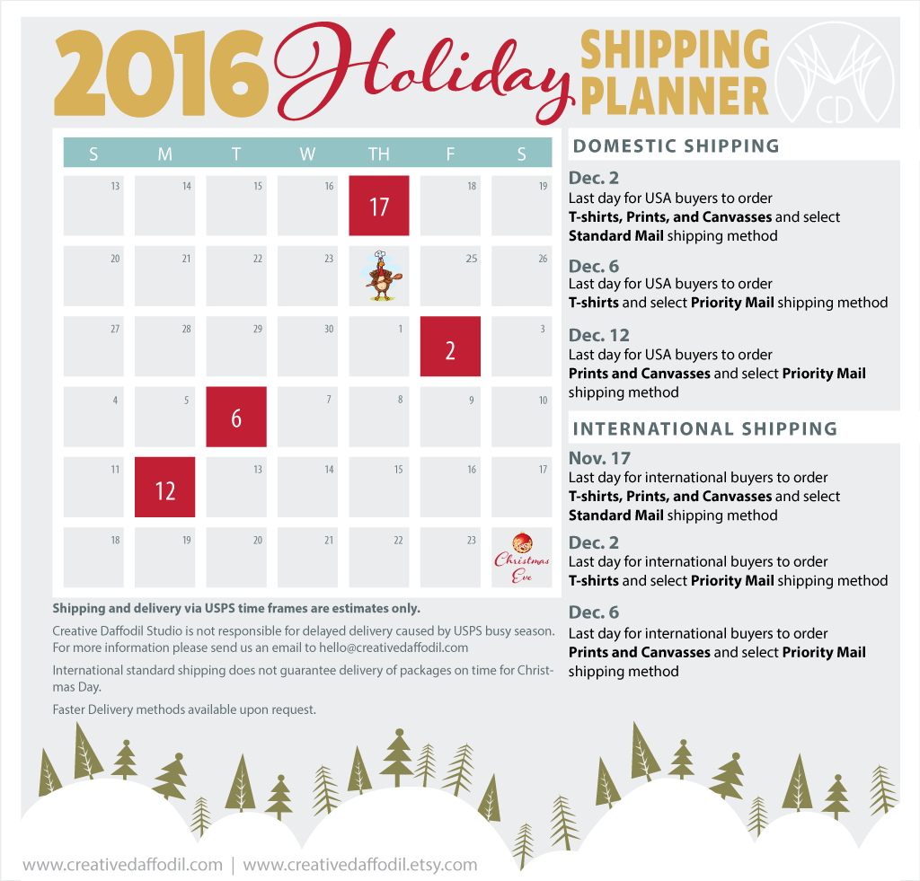 2016 Holiday Shipping Deadlinnes | Creative Daffodil Studio