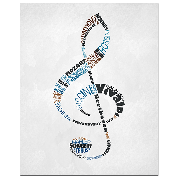 Clef with classical composers typography