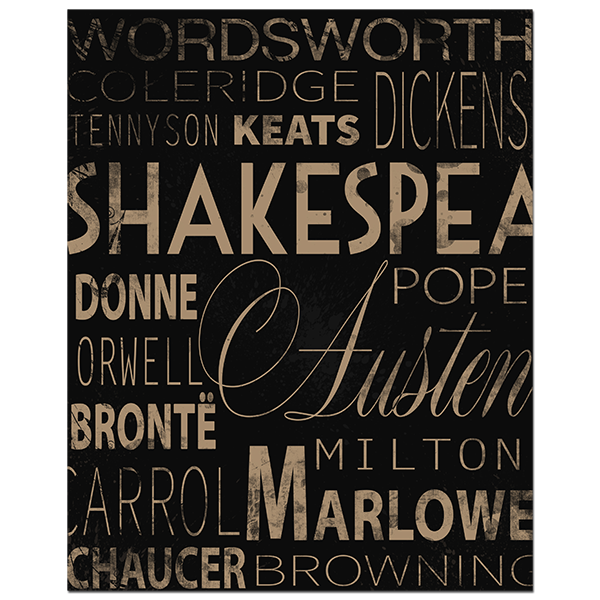English Authors Typography Poster