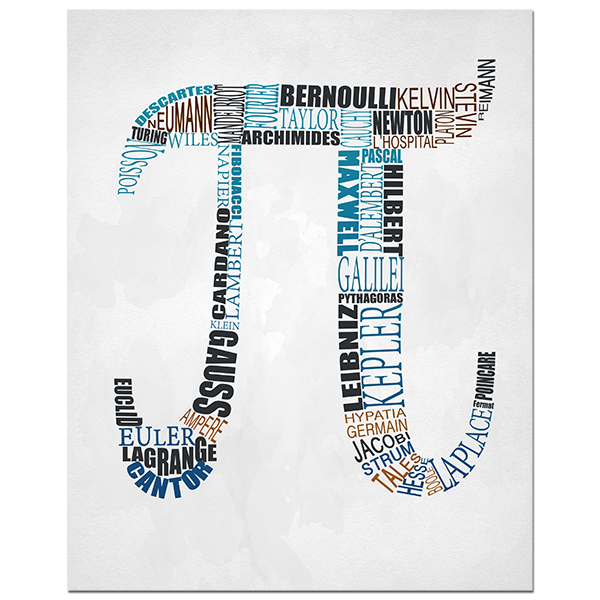 Pi Mathematics Typography Poster