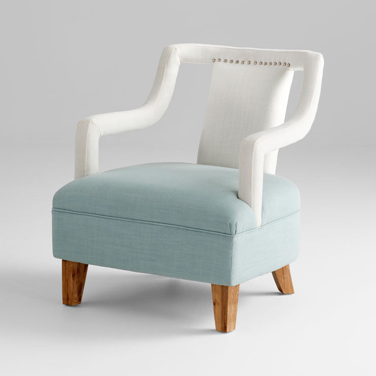 Blue and White Linen Chair