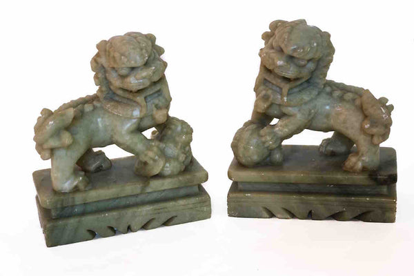 Pair of Vintage Soapstone Foo Dogs