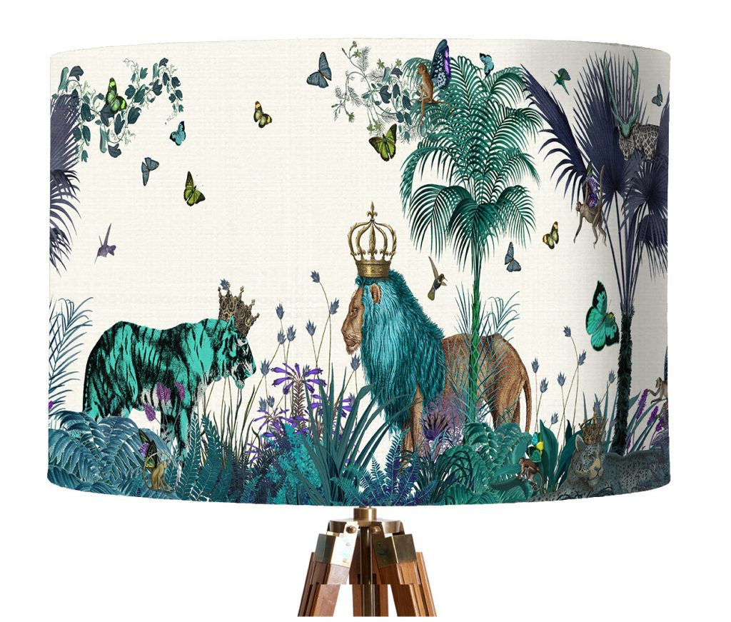 Tropical Cats Lampshade - Blue
