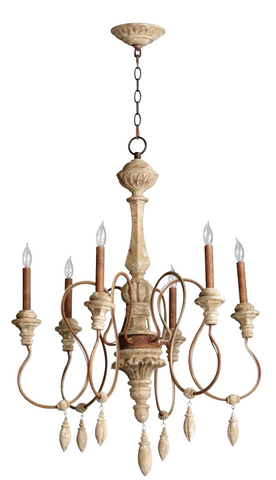 Carved Wood Chandelier