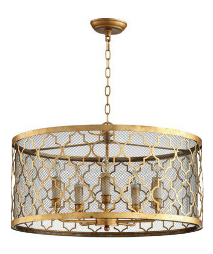 Gold Leaf Drum Pendant Light