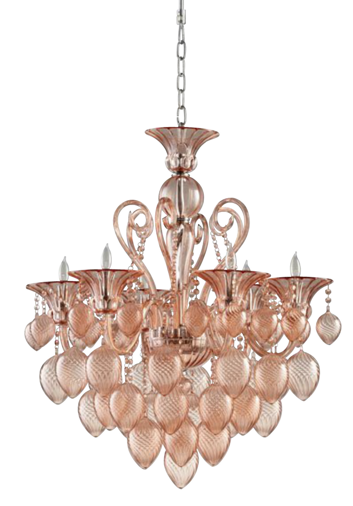 Murano Style Blush Glass Chandelier