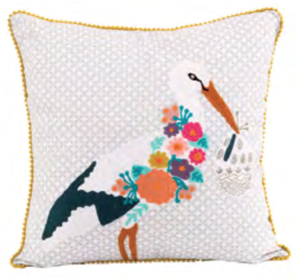 Embroidered Stork Pillow